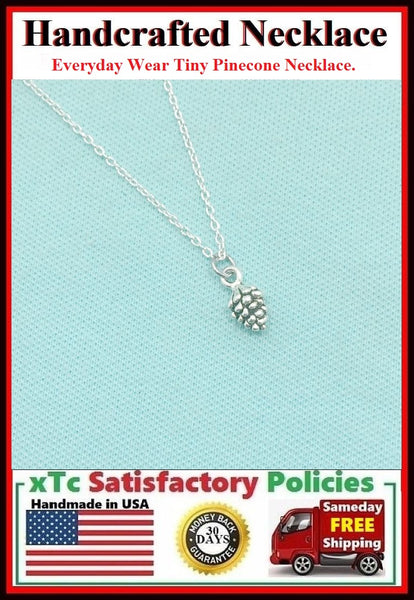 Everyday Wear: Stunning Tiny Pinecone Silver Charm Necklace.