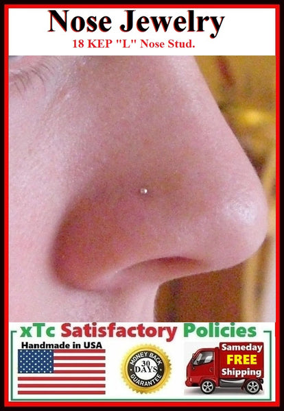 "Sterilized 18 Karat EP Only 1.25mm Top Ball ""L"" Nose Stud."