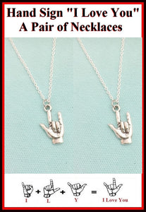 "BF Sets : 2 Hand Sign ""I LOVE YOU""  Necklaces Set."