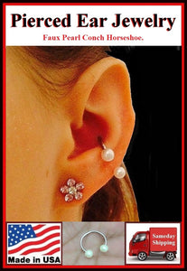 Sterilized Surgical Steel CONCH Faux Pearl Horseshoe.