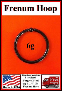 "Black Sterilized Surgical Steel 6g, 1-1/4"" FRENUM HOOP."