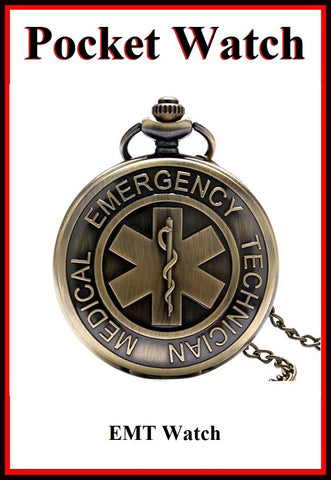 "EMT Logo Bronze Locket Quartz Watch 30"" Necklace."