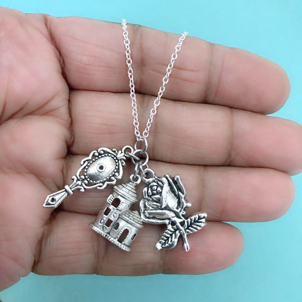 Handcrafted Belle Cluster of Charms Silver Necklace.