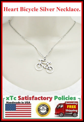 Cyclist Gift : Heart Bicycle Charm Silver Necklace.