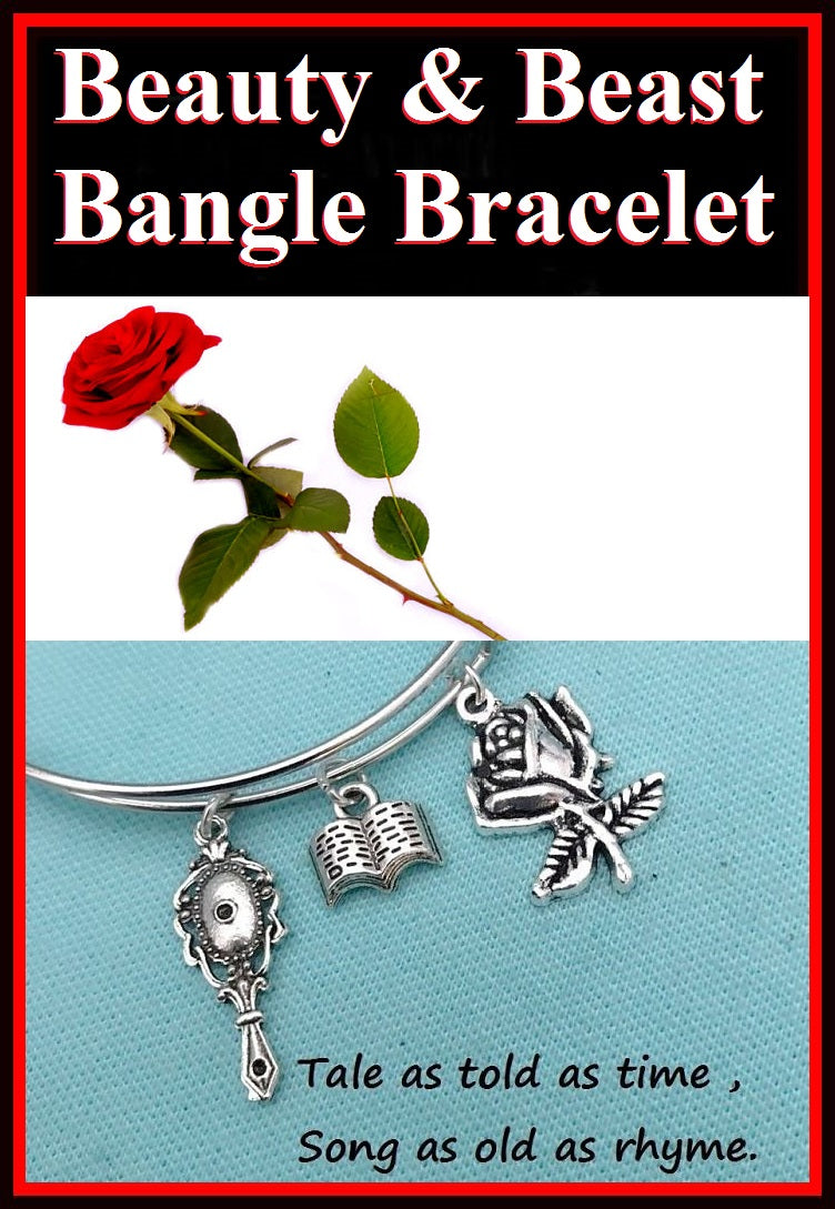 Beauty & Beast Charms Expendable Bangle Bracelet.