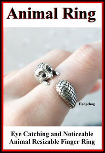 Beautiful HEDGEHOG Resizable Finger Ring.