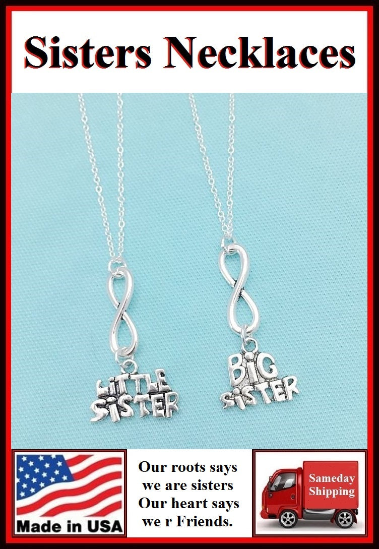 2 Sisters ; Forever Love You Sisters Charms Necklaces Set.
