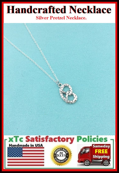 Handcrafted Beautiful Pretzel Silver Charm Necklace.