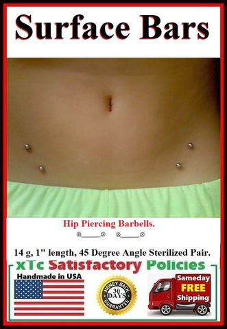 "Sterilized Pair of 14g, 1"" Surface Bar for Hip Piercings."