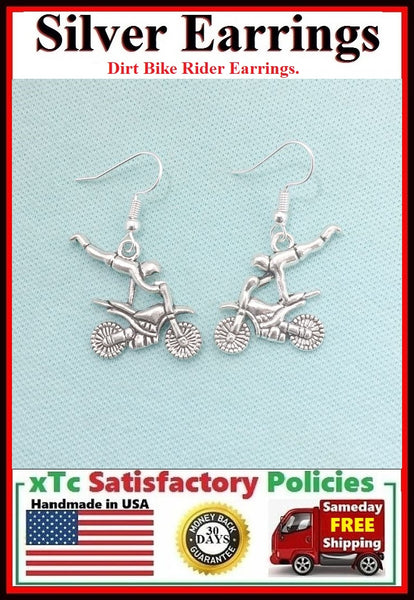 Motocross Dirt bike Rider Silver Dangle Drop Earrings.