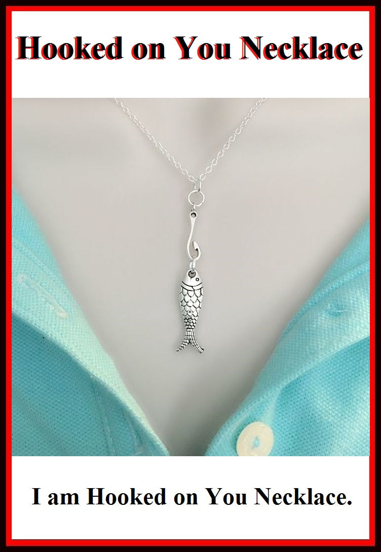 """HOOKED ON YOU"" Lover Silver FISH & HOOK Charms Necklace."