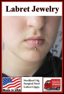 Sterilized 14g Surgical Steel LABRET Lippy Loop.