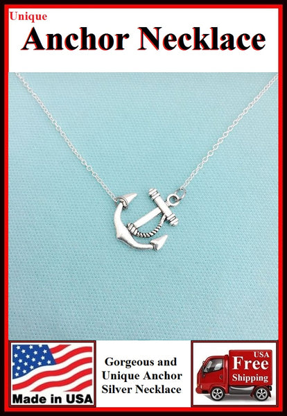 Unique Beautiful ANCHOR Silver Charm Necklaces.