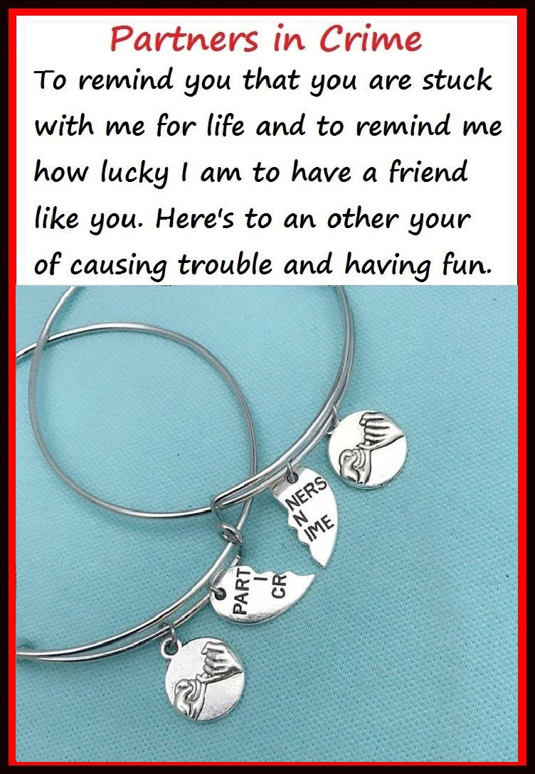 PINKY PROMISE & PARTNERS in CRIME Charms Set of 2 Bangles.