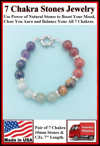 7 Chakra 10mm Stones Bracelet to Boost Mood.