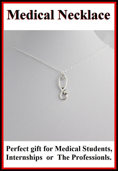 Medical Necklace: Stethoscope Necklace with FREE Earrings.