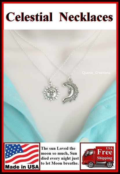 "BF Sets : SUN n MOON "" Celestial Pair"" Lovers  Necklaces Set."