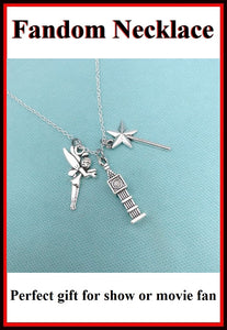Handcrafted Peter Pan Cluster of Charms Silver Necklace.