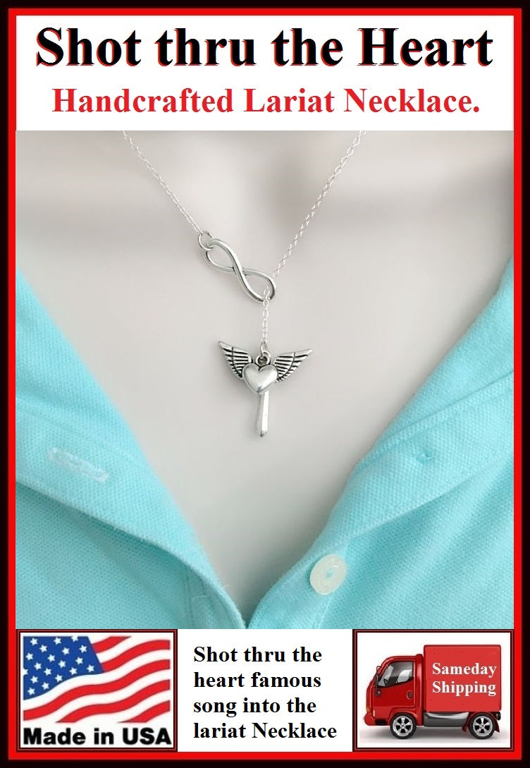 """John Bon Jovi Song"" Inspiration Silver Charms Necklace Lariat Style."