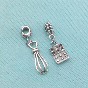EGG LOVERS : Eggs and Egg Beater Charms Fit Beaded Bracelet