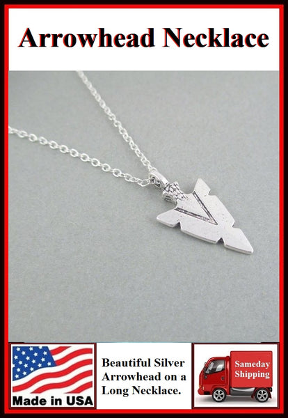 "Beautiful Silver ARROWHEAD Charm 24"" Snake Chain Necklace"
