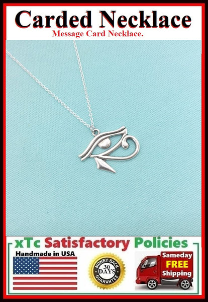 Handcrafted Egyptian Eye of Horus Silver Charm Necklace.