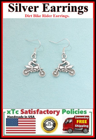 Motocross Dirt bike Rider-1 Silver Dangle Drop Earrings.
