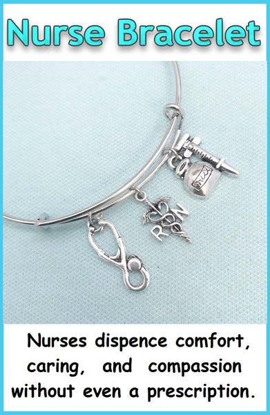 Medical Bracelet : RN Related Charms Expendable Bangle.
