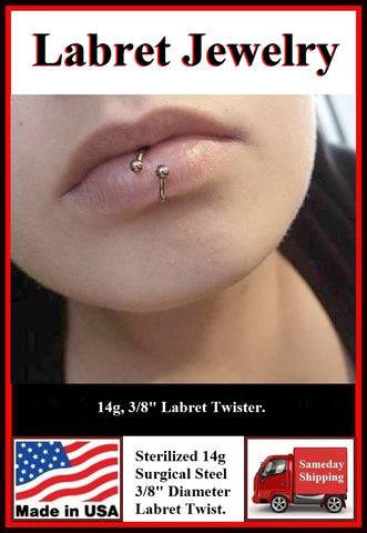 Sterilized 14g Surgical Steel LABRET Twister.