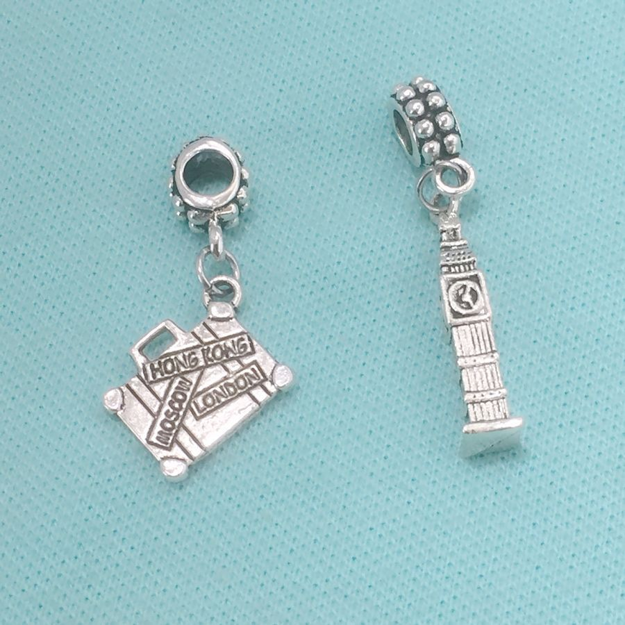 GOING to LONDON : Big Ben and Suitcase Charms Fit Beaded Bracelet