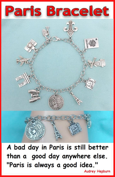 Paris France Stunning Silver Charms on Steel Bracelet. TRAVEL BRACELET.
