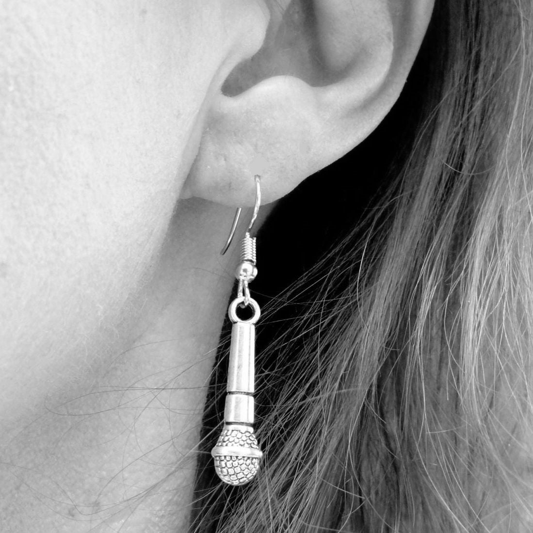 Singer Microphone  Silver Dangle Earrings.