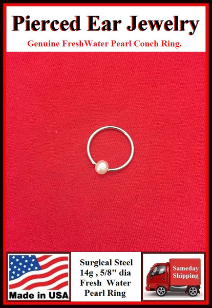 Sterilized Surgical Steel CONCH Fresh Water Pearl Ball Ring.