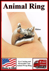 Beautiful RHINO Resizable Finger Ring.