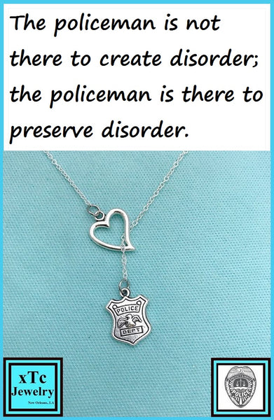 I Love POLICE Dept. Silver Lariat Necklace.