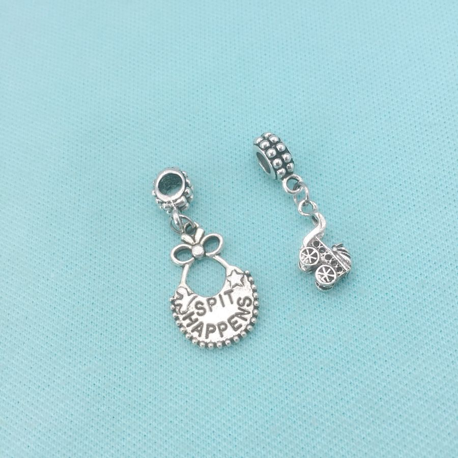 NEWLY MOM : Bib and Baby Carriage Charms Fit Beaded Bracelet