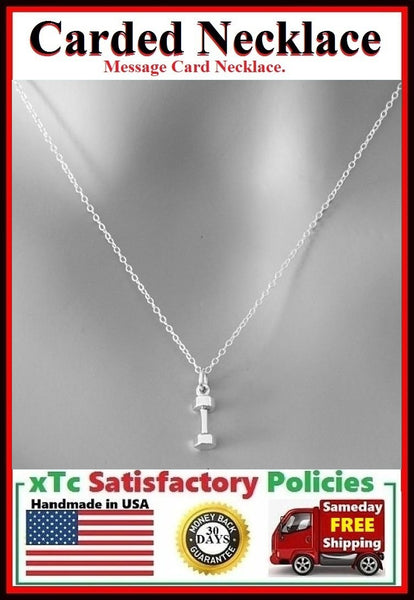 Cross Fit Gift; Handcrafted Silver Dumbbell Charm Necklace.