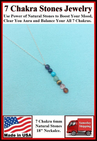 "7 Chakra 6mm Stones 18"" Necklace to Boost Mood."