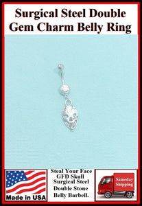 """Steal Your Face"" GFD Skull Silver Charm Surgical Steel Belly Ring."