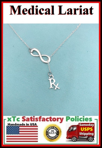 Pharmacist, RX Medicine with Infinity Necklace, Lariat Style.
