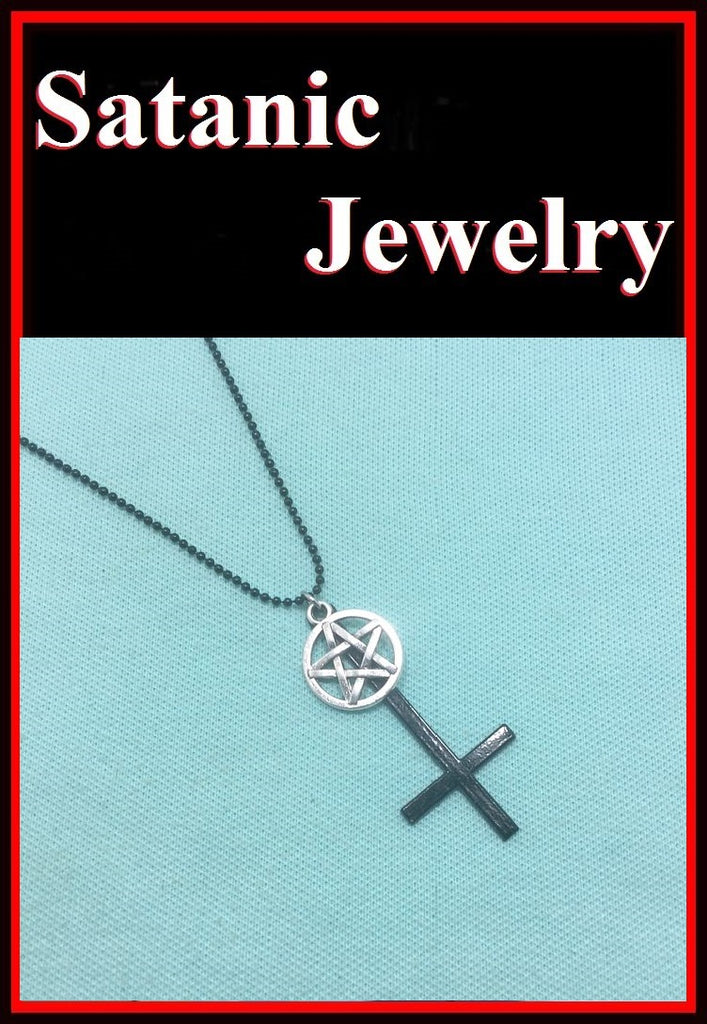 2 Quot Black Upside Down Cross With Silver Pentagram And Black