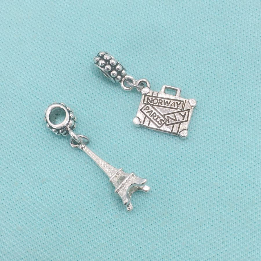 GOING to PARIS : Eiffel Tower and Suitcase Charms Fit Beaded Bracelet