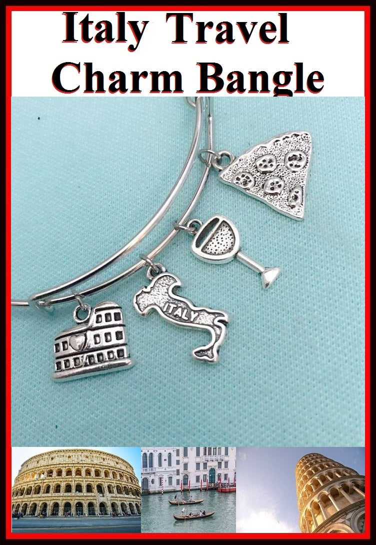 Italian Theme; Beautiful Italian Charms Bangle Bracelet.