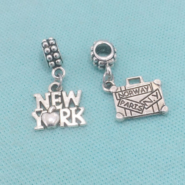 GOING to NEW YORK : NEW York and Suitcase Charms Fit Beaded Bracelet