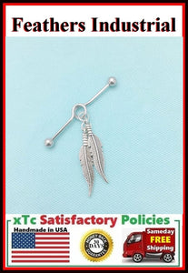 Beautiful Pair of Feathers Charm Surgical Steel Industrial.