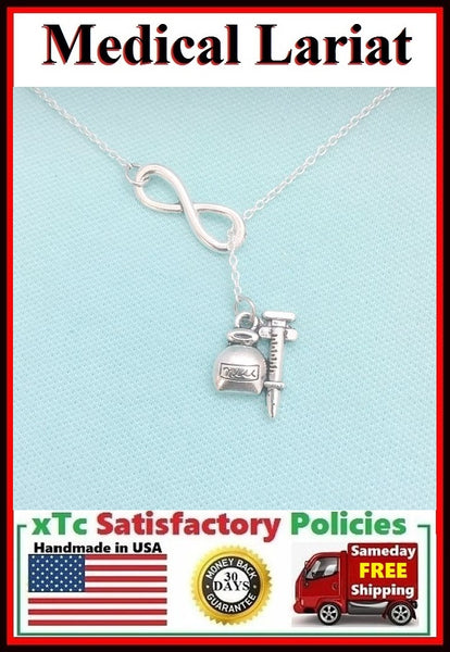 Syringe & RX Medicine Bottle Silver Lariat Necklace.