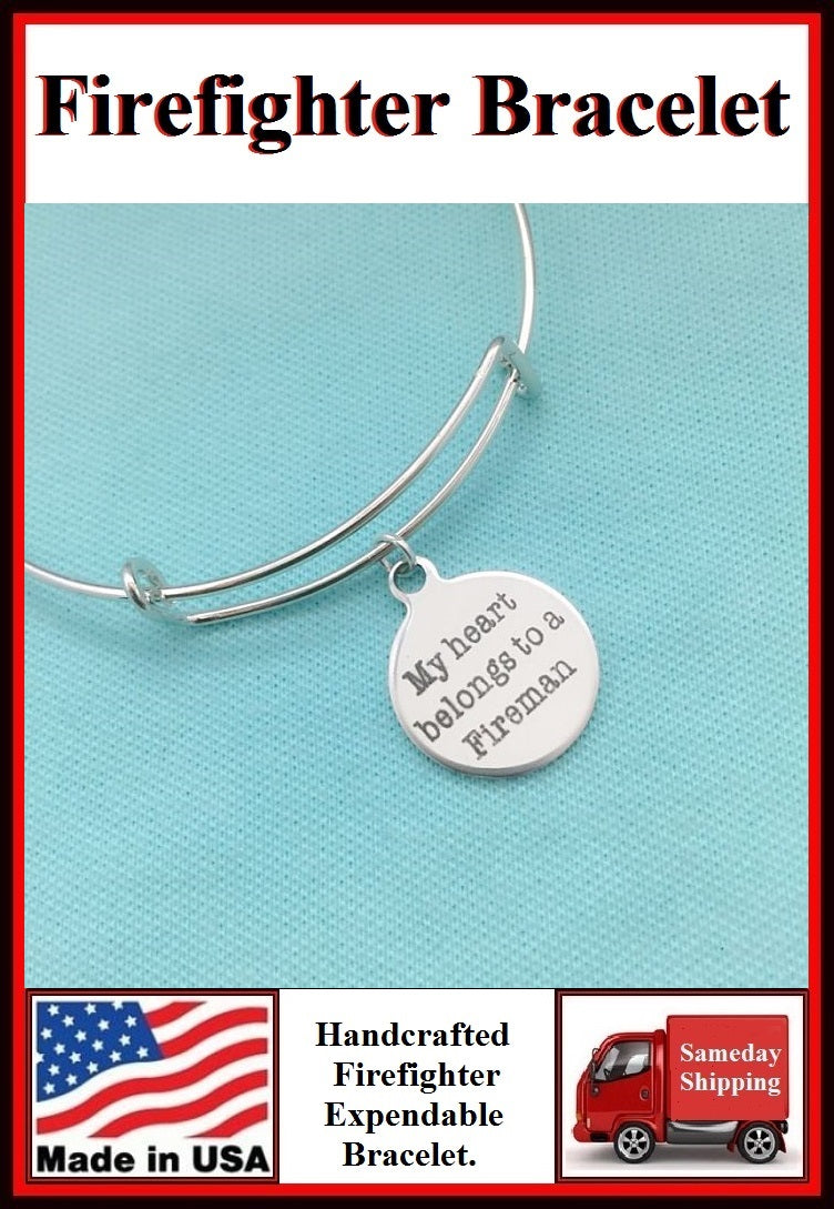 My Heart Belongs to Fireman Charm Expendable Bangle.