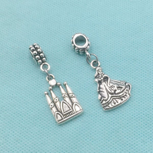 FAIRYTALE STUFF : Castle and Princess Charms Fit Beaded Bracelet.