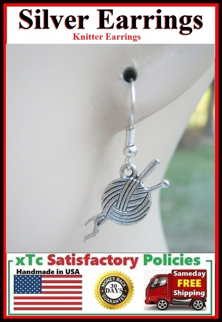 Beautiful Yarn & Needles for Knitting Silver Dangle Earrings.