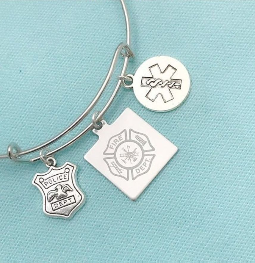 Handcrafted Firefighter, EMT, PD Charms Bangle.